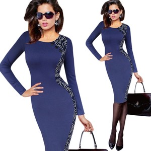 VfEmage Elegant Geaometric Print Button Bodycon Sheath Pencil Dress