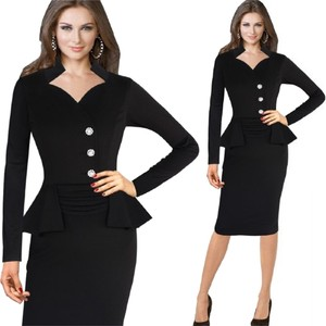 VfEmage Elegant Button Fitted Sheath Pencil Dress