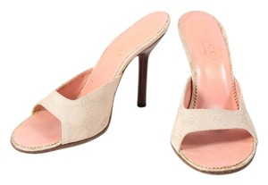 Gucci Gg Slip On Wooden Heels Beige Sandals