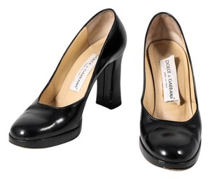 Dolce&Gabbana Patent Leather Almond Toe Closed Toe Chunky Heel Navy Pumps