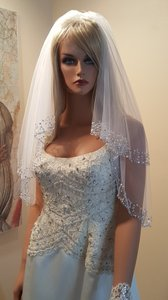 Sparkly Sequins 2 Tier White Bridal Veil Elbow Length
