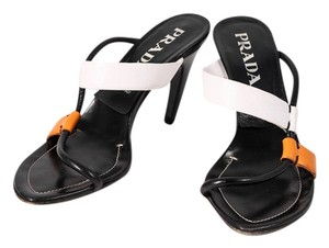 Prada Black White Orange Leather Black/White/Orange Sandals