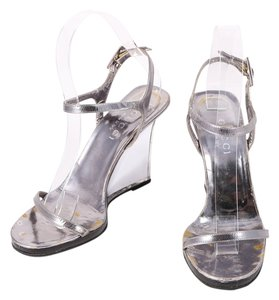 Gucci Arcylic Leather Ankle Strap Silver Wedges