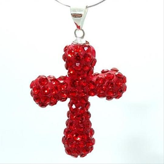 Red Rhinestone Cross Pendant With Free Chain & Shipping