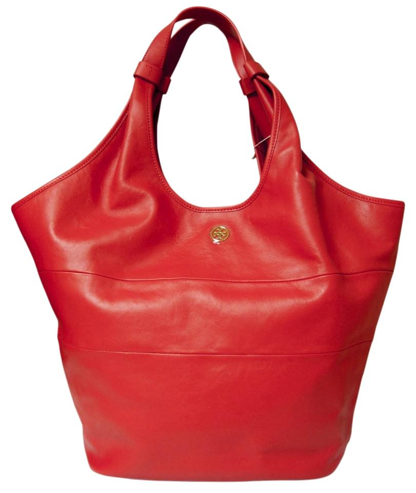 Tory Burch Red Leather Medium Slouchy Hobo Bag | Hobos on Sale
