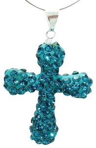 Unknown Aqua Blue Rhinestone Cross Pendant w/Free Chain & Shipping