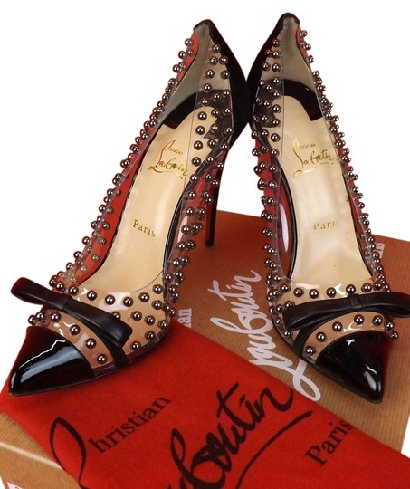 Christian Louboutin Suede Leather Stiletto 42 12 New Studded Embellished Spike Spiked Textured Red Sole Sexy Pointed Toe Silver Silver Mm Black, Clear Pumps