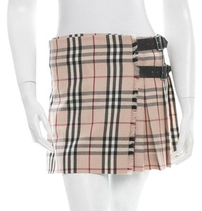 Burberry Beige Tan Nude Black Multicolor Wool Nova Check Nova Check Logo Print Monogram Pleated Mini New Belted Leather M Medium Skirt Beige, Black