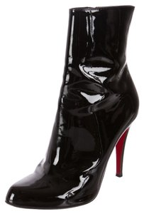 Christian Louboutin Patent Leather Pointed Toe Black Boots