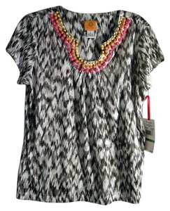 Ruby Rd. Top black, white gray with bright colored beads