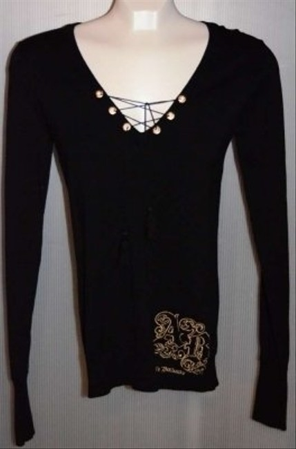 Apple Bottom Nwot Black V-neck Has Gold 'circles' Looped With Black Thread Finished In Black Tassels Cute! Long Ribbed Cuffs. With Sweater