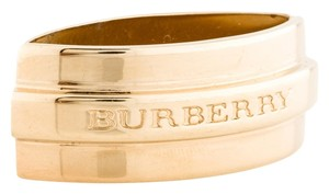 Burberry Gold tone Burberry embellished logo engraved scarf ring