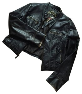 Other Large Black Big Chill Vintage Faux Black/Very Very Dark Brown Leather Jacket