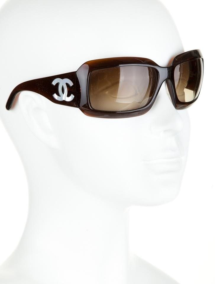 7deb96c158 Chanel Brown Mother Of Pearl Logo Sunglasses - Tradesy