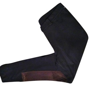 INC-Macy's Equestrian Suede Riding Eco Leather Black/ brown Leggings