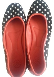Johnston & Murphy Size 10 M Black Red soles/Black and White Polka Dots Flats