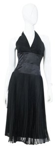 Laundry by Shelli Segal Black Halter Satin Accordion Box Pleat Dress