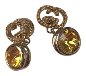 Gucci New Gucci earrings with yellow crystal and gold hardware