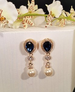 Wedding Gold Plated Sapphire Blue Pearl Drop Earrings