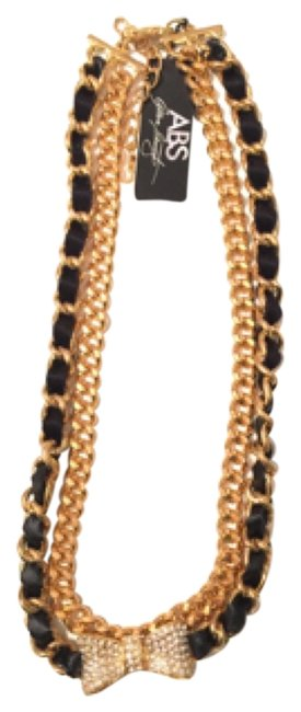 Item - Black/Gold Crtstal Pave Pendant Double Chain Necklace