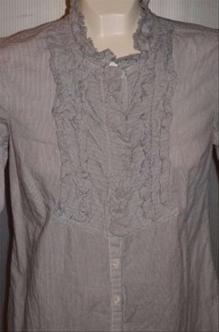 J.Crew Ruffles Around Collar And Down Front Of This Lovely Nwot Cute Round Neck With Ruffled Collar And Waist Measurements Top Grey/White pinstripe