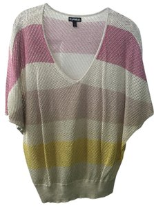 Express Top Beige with pink & yellow stripes