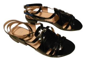 Stuart Weitzman Greek Attractive Design High Gloss Finish Jet Mirror Sandals