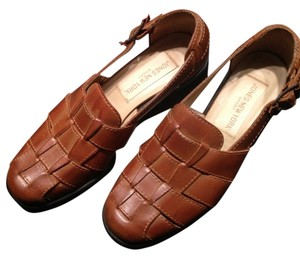 Jones New York Leather Woven Fisherman 90's Brown Sandals