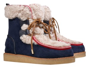 Tory Burch Shearling Winter Boot Fur Navy blue red Boots
