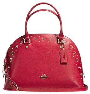 Coach F36669 Cora Domed Studded Crossgrain Leather Satchel in classic red/gold