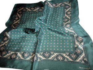 Echo Echo Green Paisley and Diamond Silk Scarf