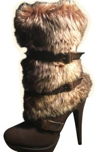 JustFab Brown, animal faux fur Boots