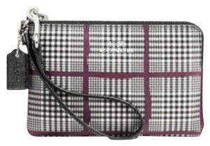 Coach Wristlet in Glen Plaid(see Pics For Colors), With Silver Zipperand Black Strap
