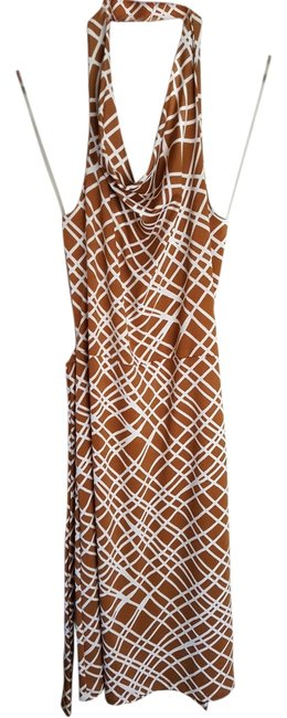 Item - Camel and White Halter Mid-length Short Casual Dress Size 2 (XS)