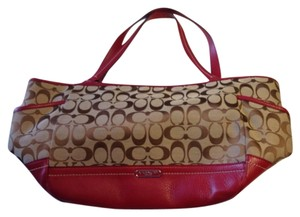 Coach Tote in Tan / Red
