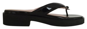 Taryn Rose Taryn By Patent Leather Thong Black Sandals