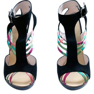 Emilio Pucci Black with Pucci Pattern Sandals