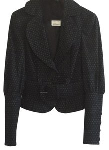 bebe Pleated Belted Polka Dot Black with white dots Jacket