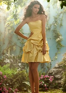 Alfred Angelo Yellow Luxe Taffeta Style 501 Formal Bridesmaid/Mob Dress Size 8 (M)