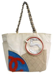 Chanel Tote in Ivory, Blue, Red
