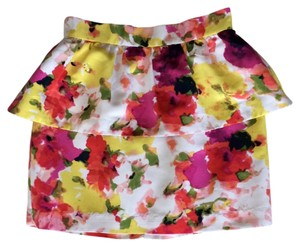 Forever 21 Floral Print Peplum Mini Date Night Mini Skirt Pink