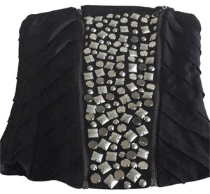 bebe Studded Bustier Corset Top Black with silver metal studs