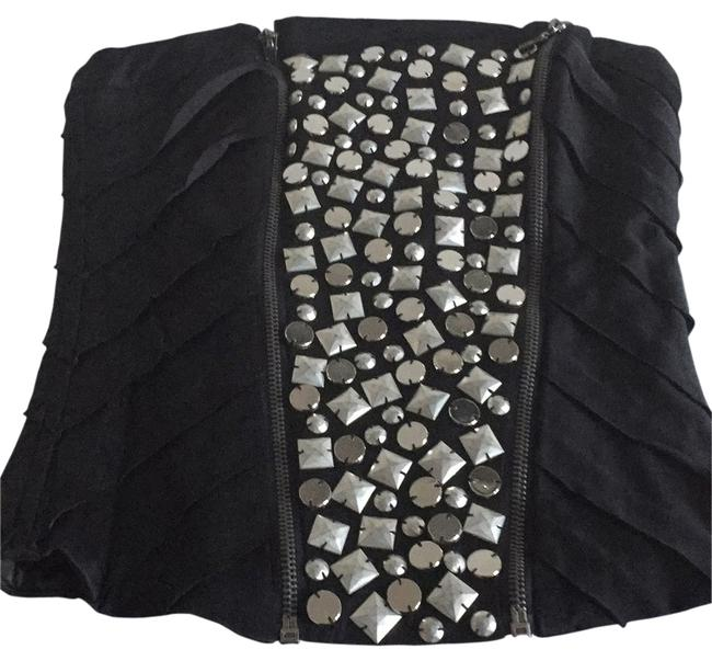 Item - Bustier Black with Silver Metal Studs Top