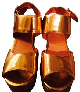Topshop Metallic Copper Wedges