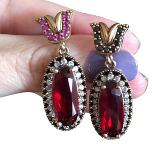 LM Designs NEW STERLING SILVER RUBY AND TOPAZ EARRINGS. MADE IN EUROPE