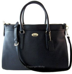 Coach Pebbled Leather Large Shoulder Strap Crossbody Shoulder Morgan Satchel in Midnight (Navy)