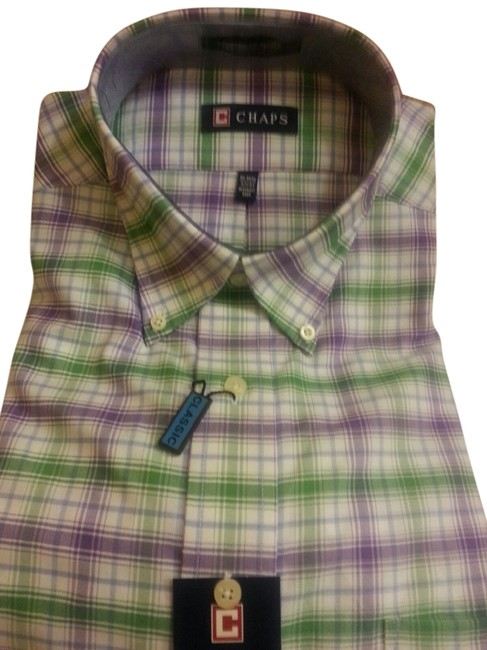 Ralph Lauren Button Down Shirt Ralph Lauren Chaps White - Green - Purple Stripes