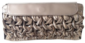 Katherine Kwei Leather Patient Leather Sieve (metallic silver and beige) Clutch