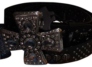 Miss Me Miss Me Brown Leather Crystal Belt