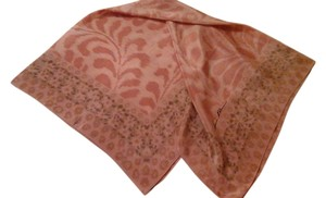 AK Anne Klein Anne Klein Pink and Tan Watercolor Flourish Silk Scarf 34